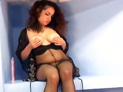 Gorgeous Latina In Black Lingerie Playing Hard With Herself